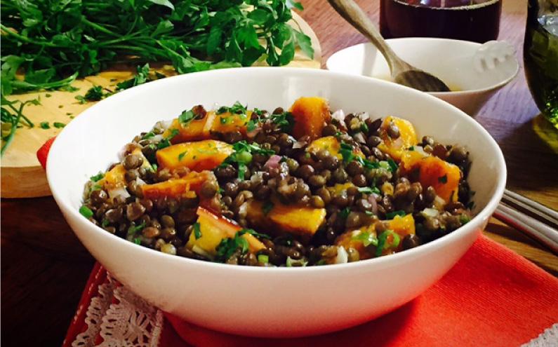 Lentil & pumpkin salad