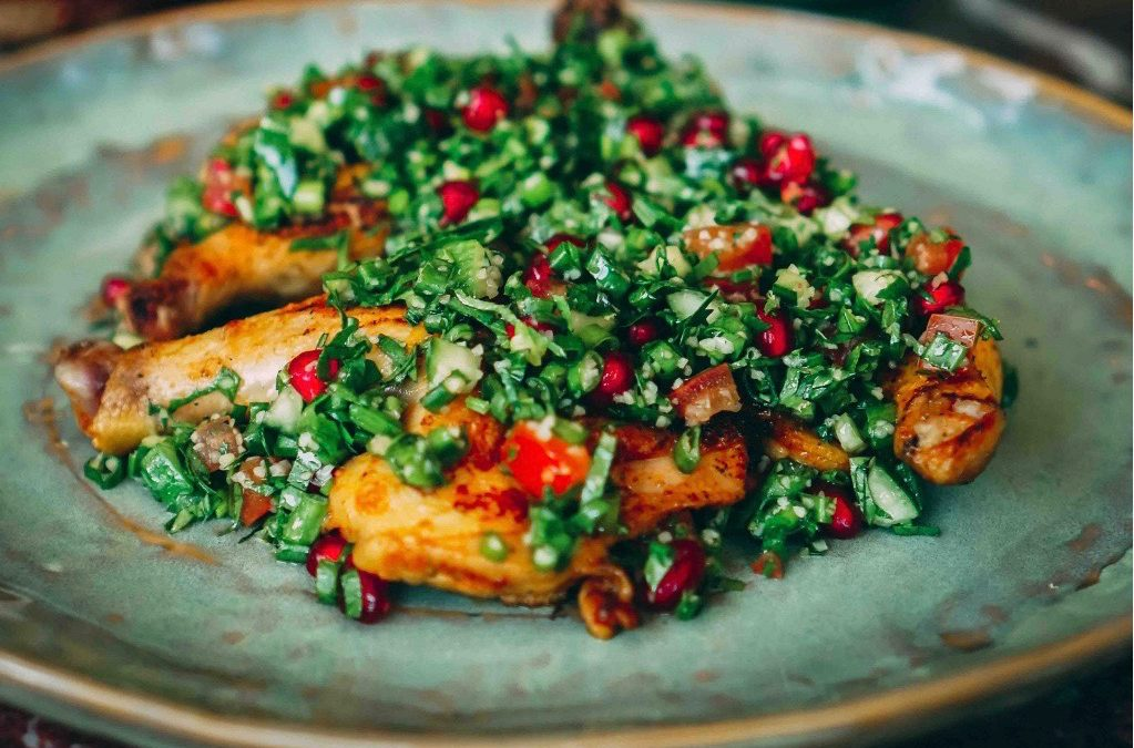 Chef Recipe:  Grilled Baby Chicken with Tabbouleh