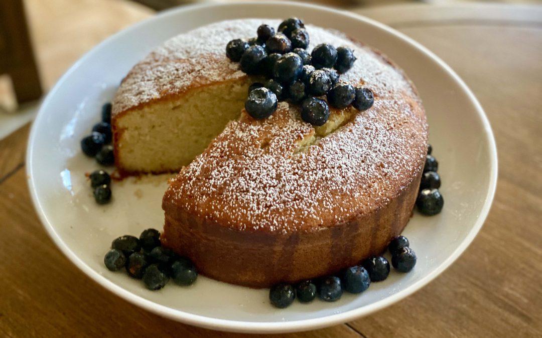 St-Germain Elderflower Green Tea Cake with Gin & Lemon