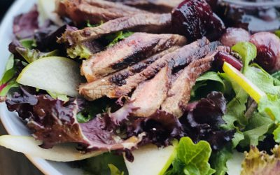 Wagyu Striploin Salad with Drunken Onions, Pear & Parmesan