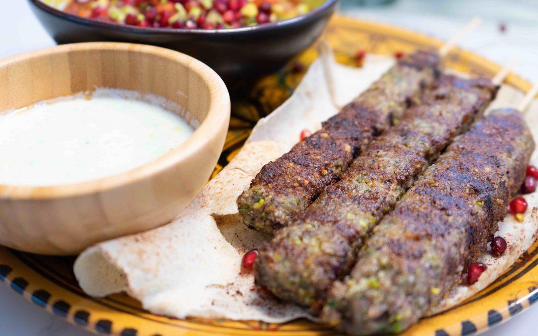 Lamb Pistachio Kebabs with Turkish Spoon Salad